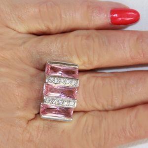 Bold Sterling Silver Seta Pink Tourmaline CZ Ring